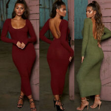 Women Bodycon Maxi Dress Sexy Plain Backless Evening Party Club Wrap Dress
