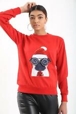 New Women's ladies Paws Pug with Black Glasses Ugly Christmas Sweater Jumper