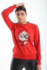New Women's ladies Paws Pug with Red Glasses Ugly Christmas Sweater Jumper