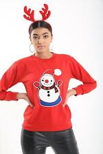 New Women's ladies White Snowmen sweater Ugly Christmas Jumper Size S-XL