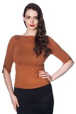 Brown Vintage 50's Rockabilly Blouse Retro Addicted Sweater Top Banned Apparel