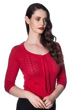 Women's Red Vintage Retro Rockabilly Knitted 50s Pointelle Top Banned Apparel