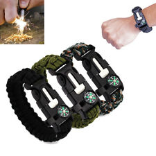 Outdoor Survival Bracelet Rope Paracord Flint Fire Starter Compass Whistle New