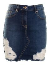 Women's Ripped Destressed Raw Hem High Waisted Denim Stretchy Mini Skirt  Dark B