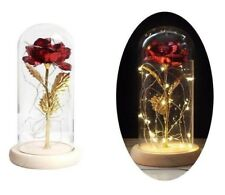 Rose in Glass Dome Led Light Wooden Base Gold Foil Forever Valentine's Day Gift