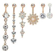 6Pcs Stainless Steel Belly Button Ring Body Jewelry Set Dangle Navel Ring-GET