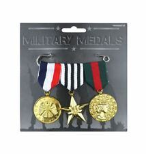 Adult Combat Hero Medals Army Military Cadet War Soldier Fancy Dress Accessory
