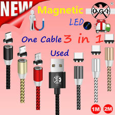 Magnetic LED USB Type C /IOS/ Micro Charger Charging Cable For iphone Samsung