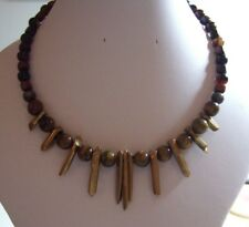 Brown or Yellow Semi Precious Stone Memory Wire Necklaces with Central Features