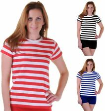 Ladies Black Blue Red White Striped T Shirt Womens Crew Neck Short Sleeves Top