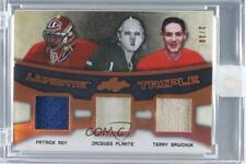 2016-17 Leaf Ultimate Triple UT-02 Patrick Roy Jacques Plante Terry Sawchuk Card