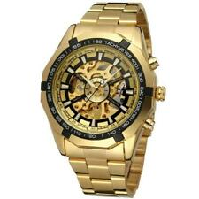 Golden Mens Automatic Mechanical Stainless Steel Wrist Watch Gute Skeleton Fashi