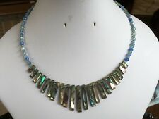 Abalone Shell or Shell Bar & Semi Precious Stone Memory Wire Necklaces