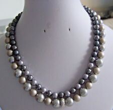 Grey Based Shell Pearl Necklaces with Plated Findings