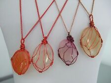 Wire Wrapped Oval Dyed Onyx Stone Pendant Necklaces on Plated Chains