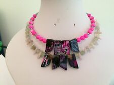 Pink Dyed Agate Slab Necklaces with Other Semi Precious Beads