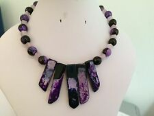 Purple Dyed Agate Slab Necklaces with Other Semi Precious Beads