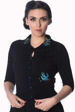 Vintage Retro Anchors Bird Rockabilly Peter Pan Collar Cardigan Banned Apparel