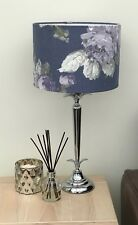 Violet Floral Patterned Drum Lampshade in Laura Ashley Violetta Pale Iris