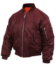 Maroon Military Air Force MA-1 Reversible Bomber Coat Flight Jacket Rothco  7327 f21fc30e4d7d