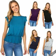 Womens Ladies Ruffle Frill Sleeve Loose Fitted Jersey T Shirt Top Casual Blouse