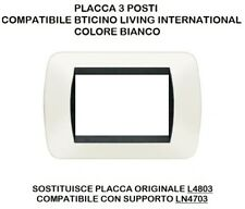 PLACCA COMPATIBILE BTICINO LIVING INTERNATIONAL 3 POSTI Vari Colori