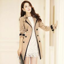 Trench Coat Women Spring Autumn Slim Double-Breasted Lady Retro Casual Plus Size