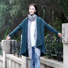 Trench Coat Spring Linen Cardigan Long Sleeve Solid Color Long Coat Length Women