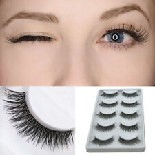 FJ- 5Pair Cross Lengthen False Eyelashes Natural Looking Fake Lashes Eye Makeup