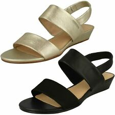 f3ed3ea79 Ladies Clarks Elasticated Slingback Strappy Leather Sandals Sense Lily