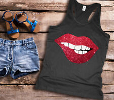 Ladies racer back black tank top vest with red glitter lips. Amazing!