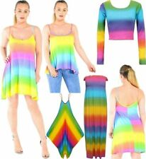 Women Rainbow Striped Multi Colour Short Cap Sleeve Midi Dress Crop Top Jumpsuit