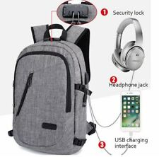 Anti-theft Mens USB w/ Charger Port Backpack Laptop Notebook Travel School Bag