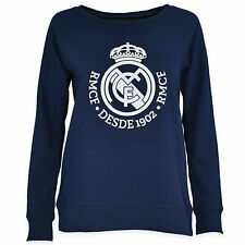 Real Madrid Tonal Crest Crew Neck Sweater Jumper Pullover Football Navy Womens