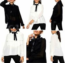 Womens High Neck Pussy bow Tie Top Ladies Long Sleeve Sheer Frill Layered Top