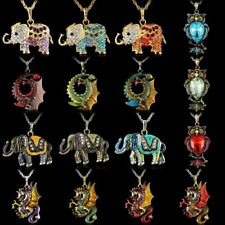 Vintage Crystal Rhinesone Animal Owl Pendant Necklace Sweater Long Chain Jewelry
