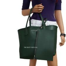 NWT MICHAEL KORS CANDY LARGE REVERSIBLE TOTE MOSS/NAVY WITH WRISTLET POUCH