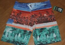 *DISTORTION BOARD SHORTS SIZE S - M BLUE RUST GREEN TROPICAL STRETCH NWT
