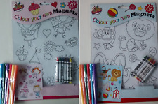 Children Travel Colour Your Own Magnets with 6 Fibre Pens Kids Craft Activity