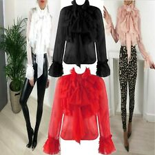 New Ladies Chiffion Ruffle Frill Layered High Neck Pussy Bow Party Blouse Top