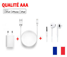 chargeur iphone cable USB +ecouteur+Chargeur secteur iPhone 5/5s/6/6+/6s/6s+iPad