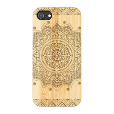 Black Mandala Natural Carved Wooden Phone Case for IPHONE SAMSUNG HUAWEI PIXEL