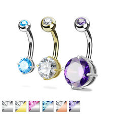 Belly Button Piercing Stainless Steel Surgeons with Zirconia Various Colours/