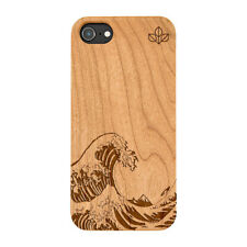 Kanagawa Wave Natural Carved Wooden Phone Case for IPHONE SAMSUNG HUAWEI PIXEL