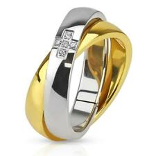 "Unisex Stainless Steel Ring "" Crossed Gold "" Zirconia New Jewelry from Coolbody"