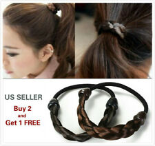 2Pcs Womens Braided Wig Elastic Hair Band Rope Scrunchie Ponytail Holder