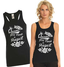 Queens are born in August ladies black tank top with roses.