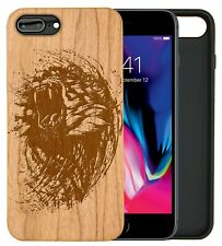 Roaring Tiger Natural Carved Wooden Phone Case for IPHONE SAMSUNG HUAWEI PIXEL