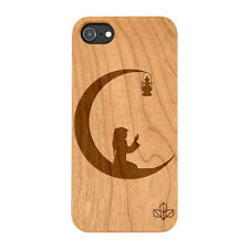 Islam Praying Natural Carved Wooden Phone Case for IPHONE SAMSUNG HUAWEI PIXEL