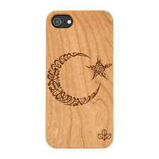 Islam Crecent Star Natural Carved Wooden Phone Case IPHONE SAMSUNG HUAWEI PIXEL